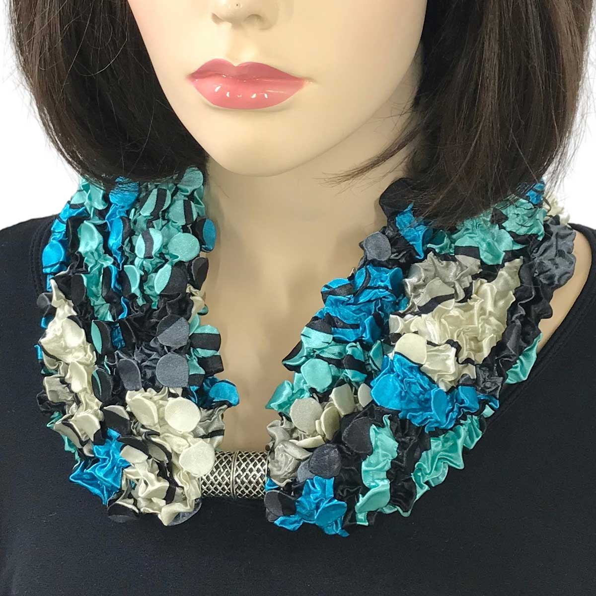 Magnetic Clasp Scarves - Coin + Bubble Satin  - #12 TURQUOISE POP ART Coin Magnetic Clasp Scarf