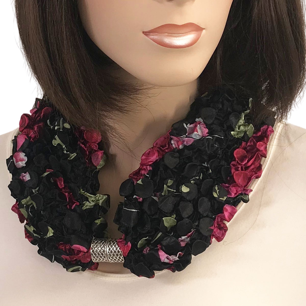 Magnetic Clasp Scarves - Coin + Bubble Satin  - #21 BLACK with ROSES Coin Magnetic Clasp Scarf