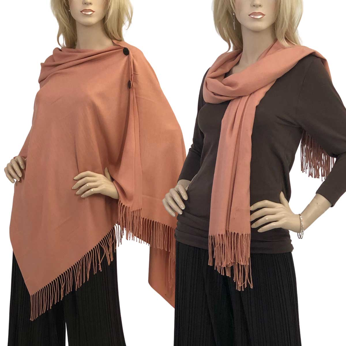 Cashmere Feel Button Shawls (Wooden  Buttons) - #06 Salmon with Black Buttons