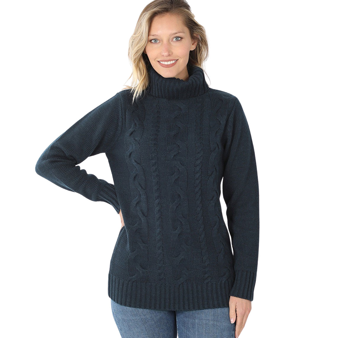Sweater -  Braided Front Turtleneck 21023 - MIDNIGHT - Braided Front Turtleneck 21023