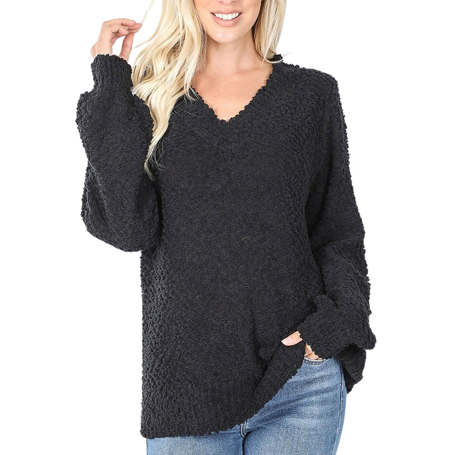 Sweater - Popcorn Balloon Sleeve V-Neck 2736 - Black Popcorn Balloon Sleeve V-Neck 2736