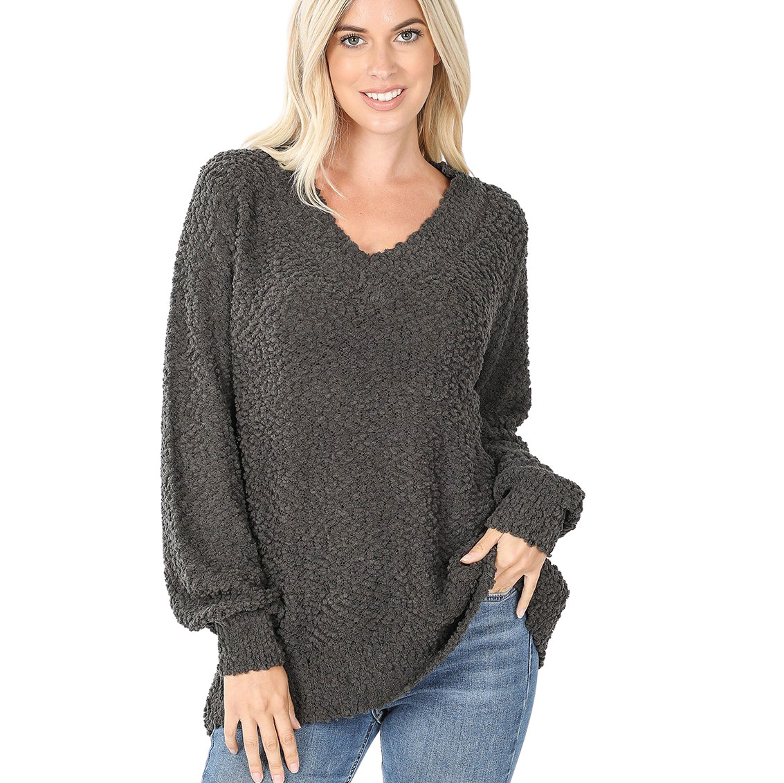 Sweater - Popcorn Balloon Sleeve V-Neck 2736 - Ash Grey Popcorn Balloon Sleeve V-Neck 2736