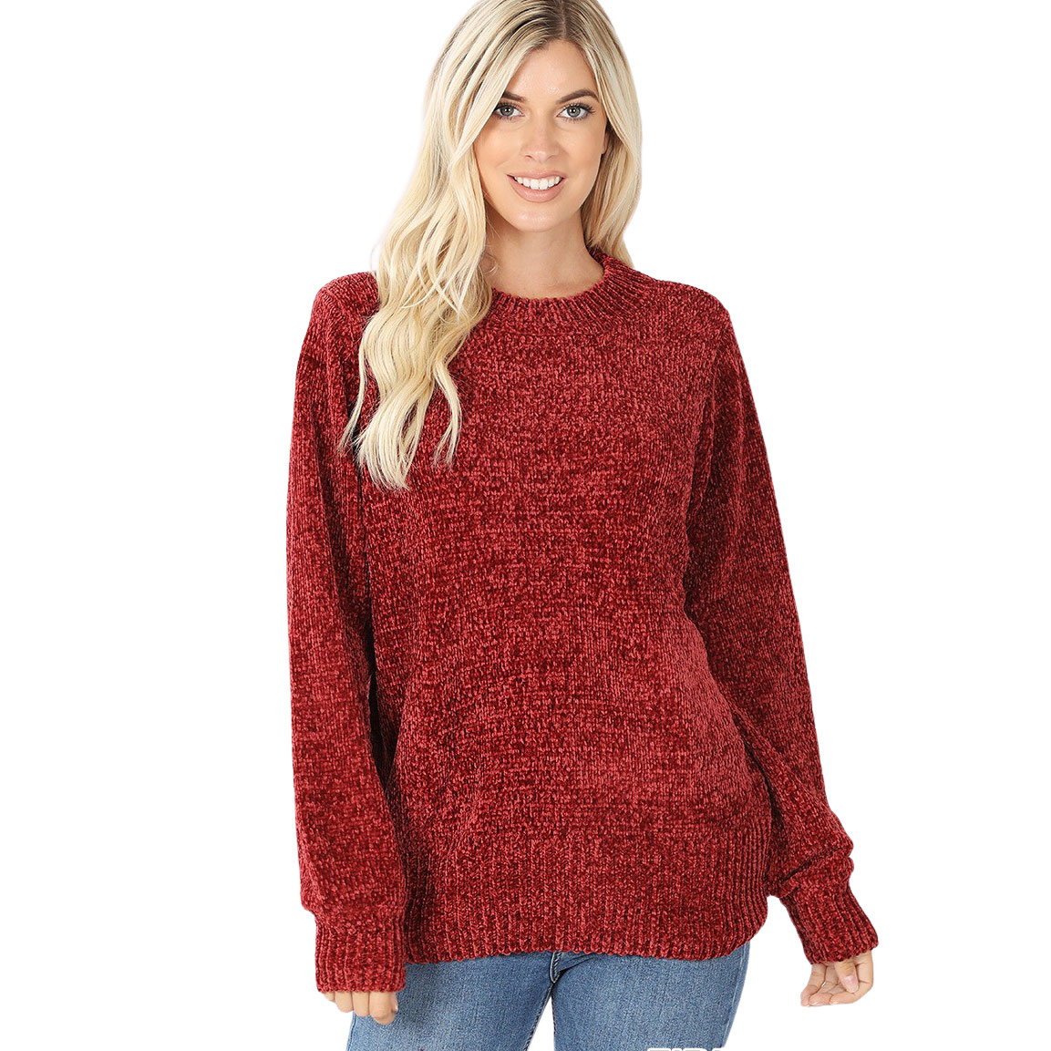 Sweater - Round Neck Balloon Sleeve Chenille 3419