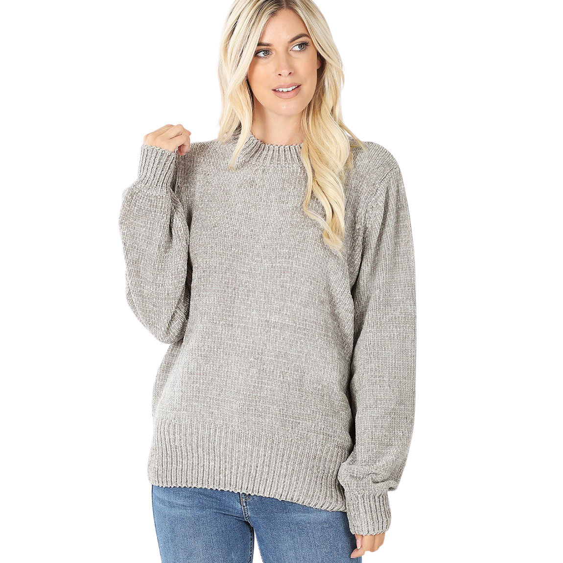 Sweater - Round Neck Balloon Sleeve Chenille 3419 - Light Grey Round Neck Balloon Sleeve Chenille Sweater 3419