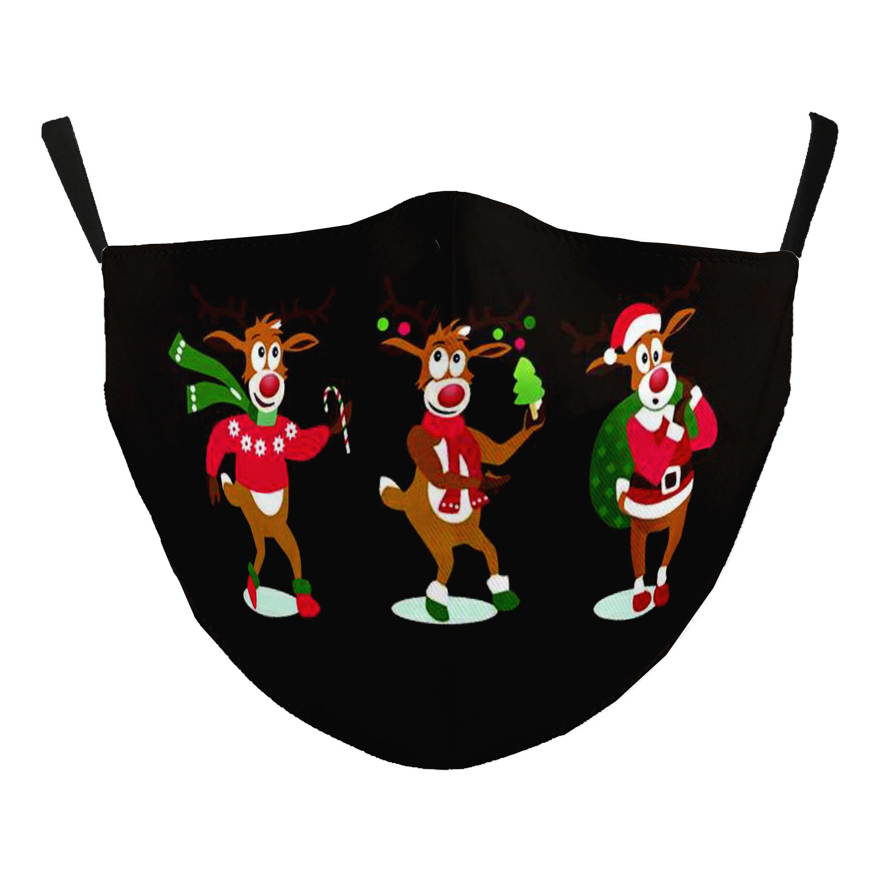 Protective Masks - Christmas / New Years'  - #115-15 Party Reindeer - Jessica w/ Filter Pocket - Christmas Theme Masks