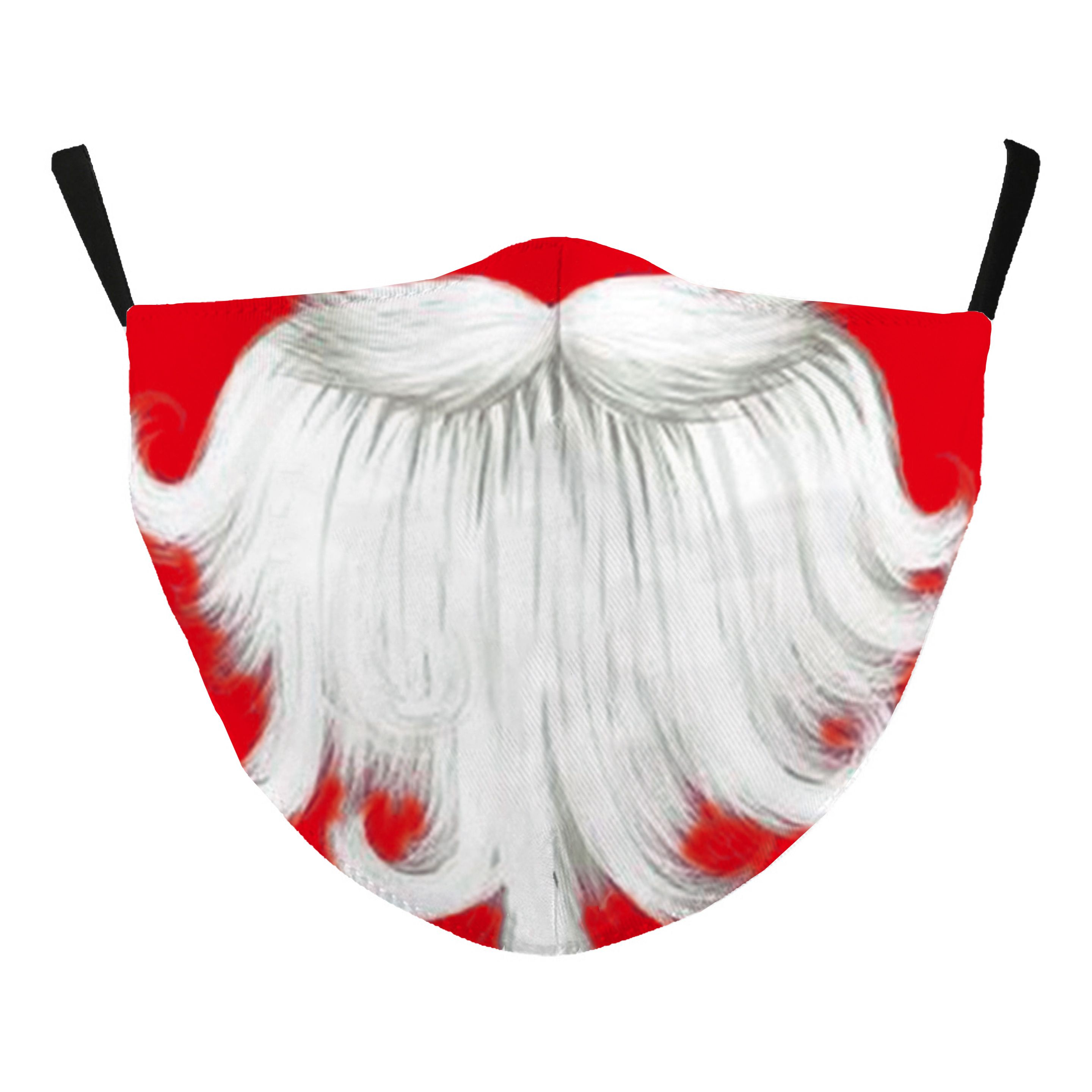 Protective Masks - Christmas / New Years'  - #115-19 Santa Beard - Jessica w/ Filter Pocket - Christmas Theme Masks