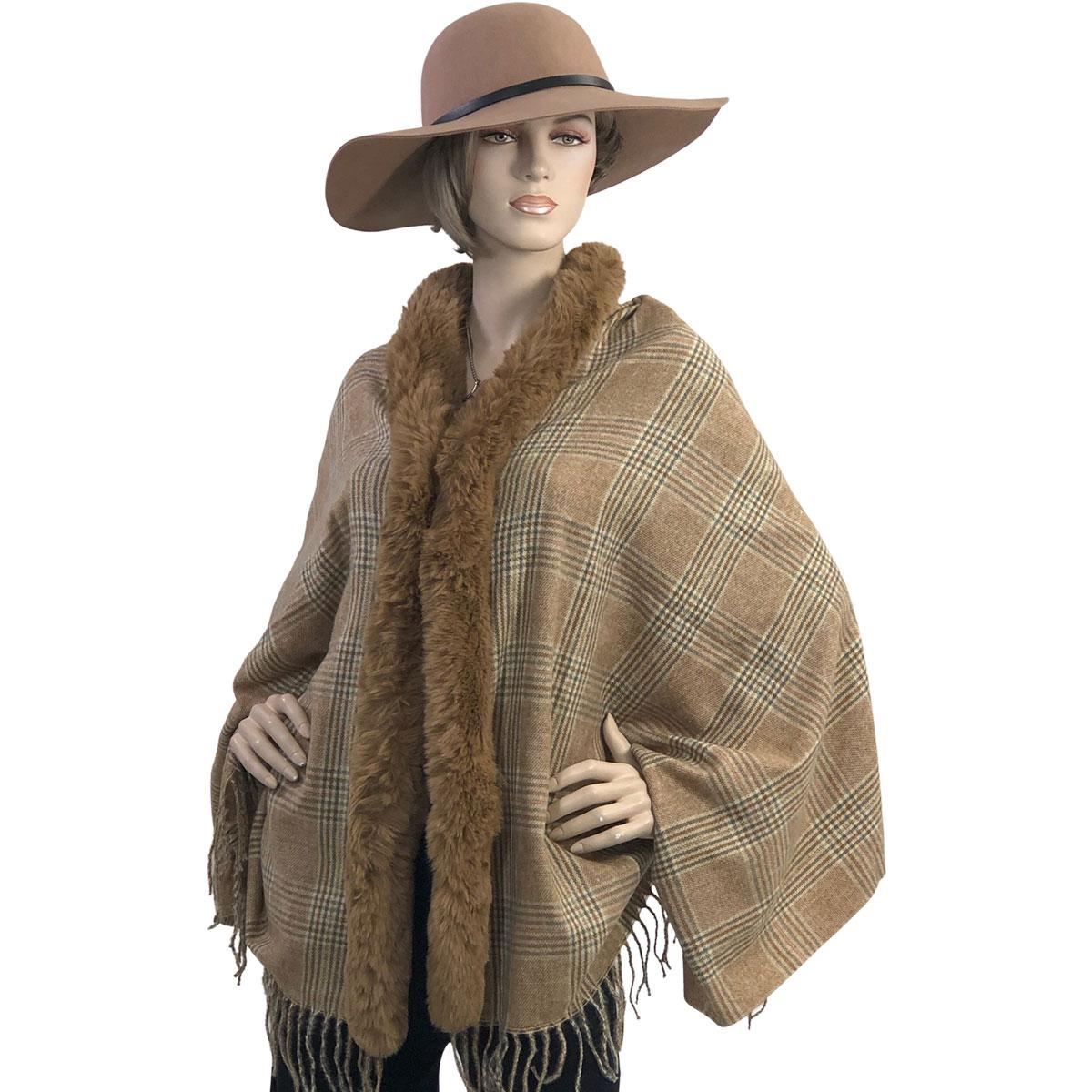 Cashmere Feel Shawls w/ Faux Rabbit Fur Trim LC1R - #07 Plaid with Camel Fur