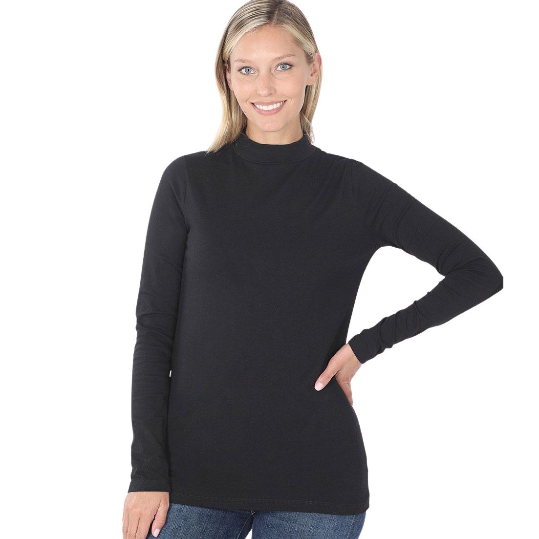 Mock Turtleneck - Cotton Long Sleeve 1059 - Black Mock Turtleneck - Cotton Long Sleeve 1059