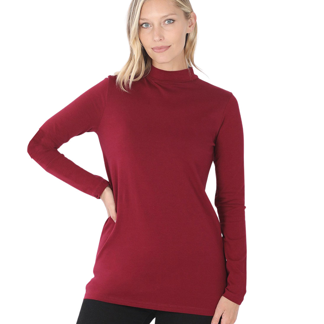 Mock Turtleneck - Cotton Long Sleeve 1059 - Cabernet Mock Turtleneck - Cotton Long Sleeve 1059
