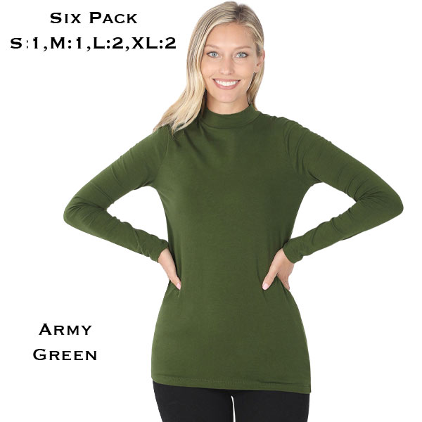 Mock Turtleneck - Cotton Long Sleeve 1059 - Army Green SIX PACK Mock Turtleneck - Cotton Long Sleeve 1059  1S/2M/2L/1XL)