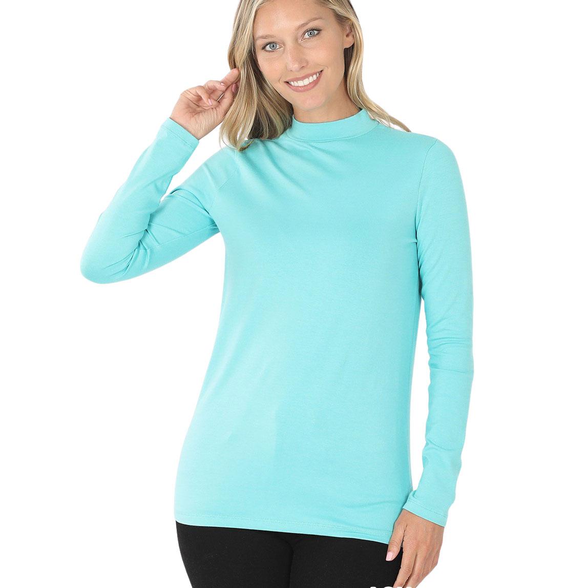 Mock Turtleneck - Cotton Long Sleeve 1059 - ASH MINT Mock Turtleneck - Cotton Long Sleeve 1059