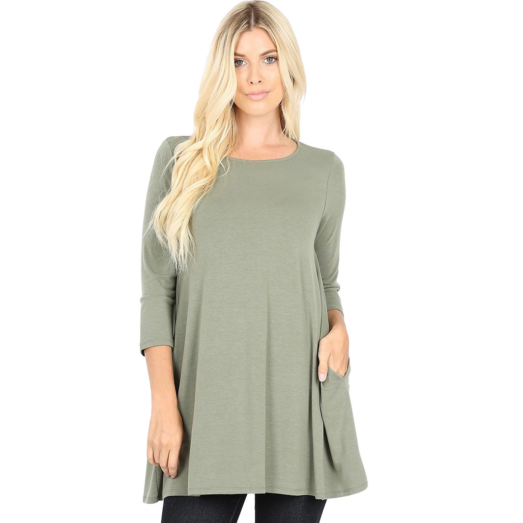 Boat Neck 3/4 Sleeve Flared Top w/ Pockets 1632   - Light Olive Boat Neck 3/4 Sleeve Flared Top with Pockets 1632