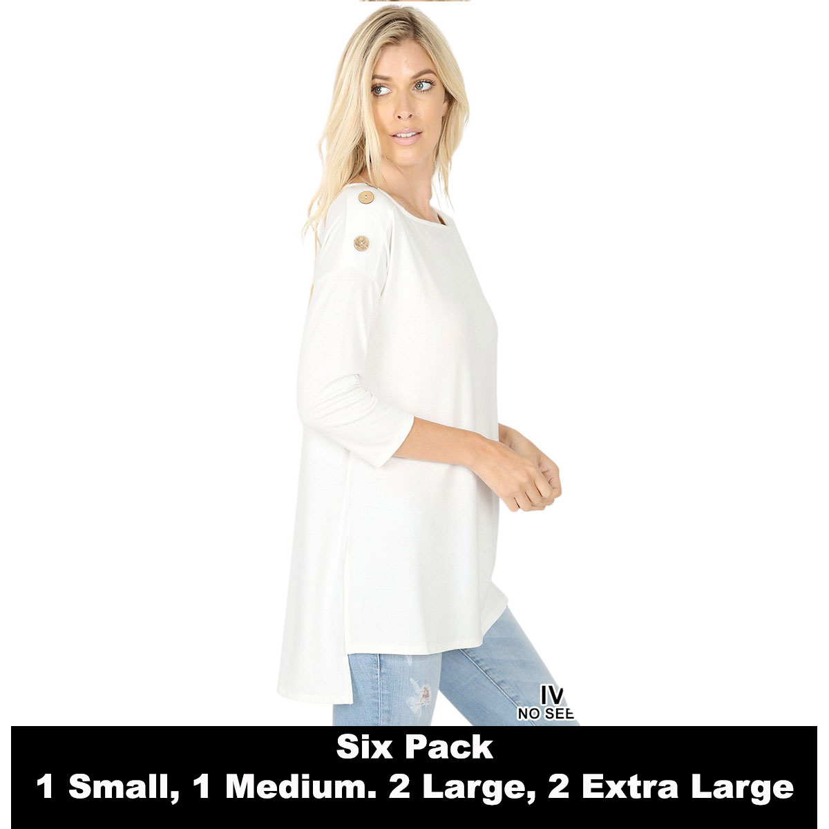 Boat Neck Hi-Lo Top w/ Wooden Buttons 2082