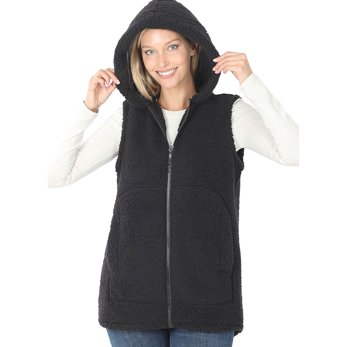 Vest - Sherpa Hi-Low Hooded Vest with Pockets 2865 - Black Vest Sherpa High-Low Hooded Vest with Pockets 2865