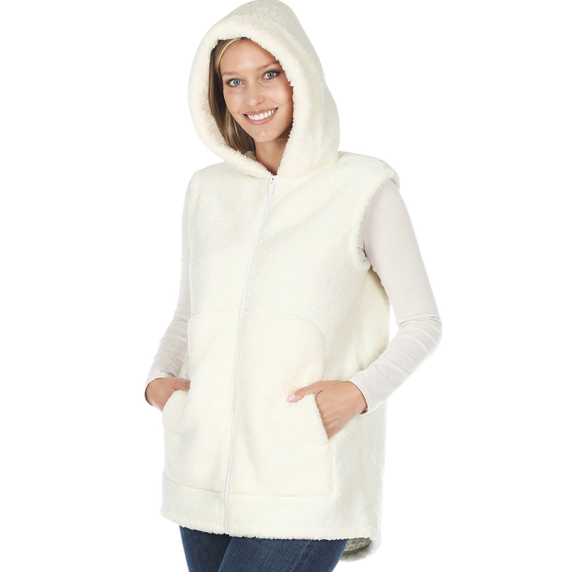Vest - Sherpa Hi-Low Hooded Vest with Pockets 2865 - Ivory Vest Sherpa High-Low Hooded Vest with Pockets 2865