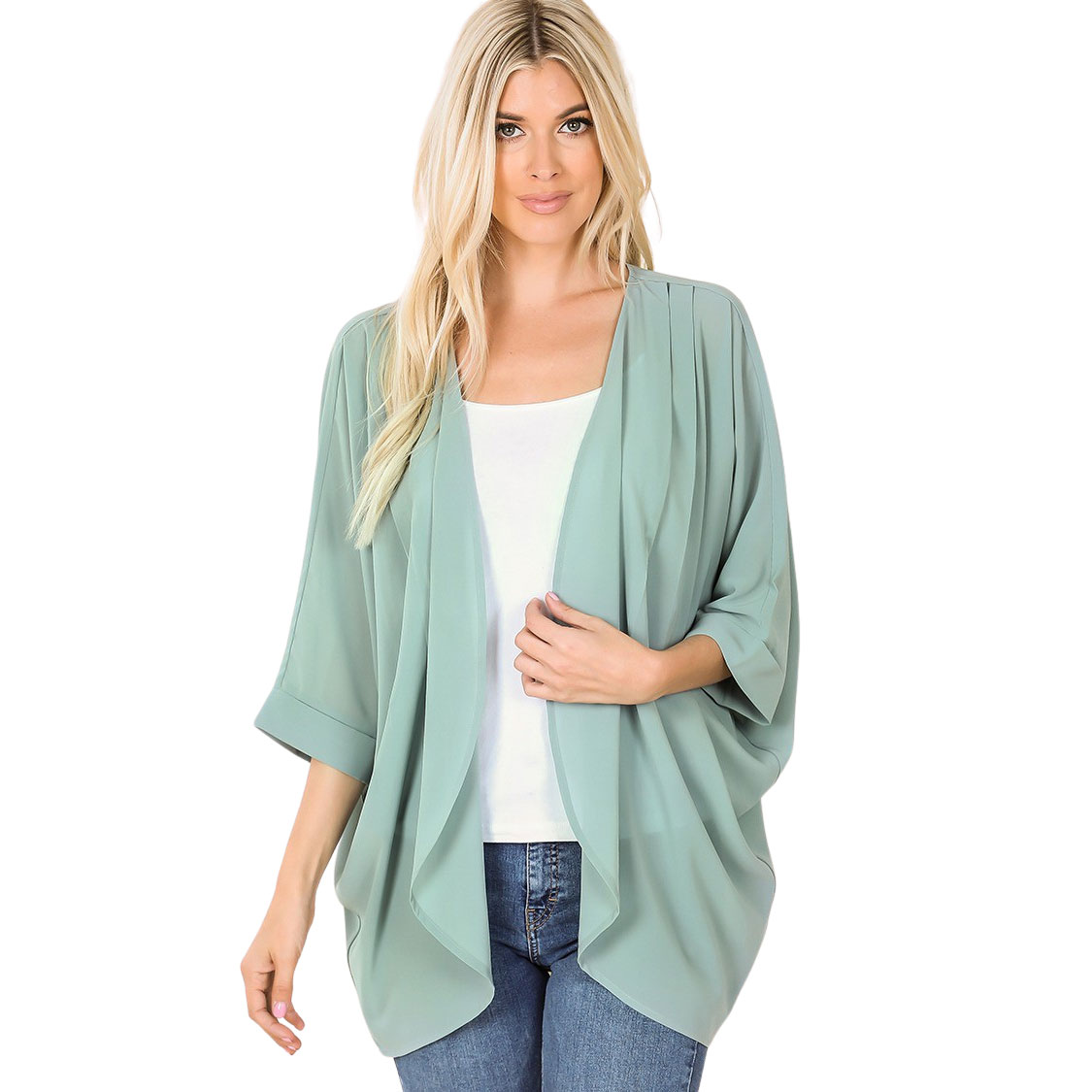 Cardigan - Woven Chiffon with Shoulder Pleat 2721
