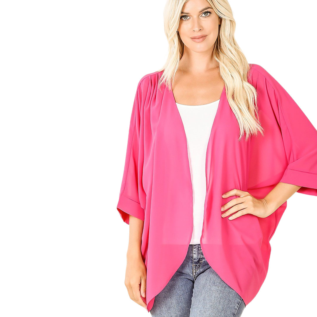 Cardigan - Woven Chiffon with Shoulder Pleat 2721 - HOT PINK CARDIGAN - Woven Chiffon with Shoulder Pleat 2721