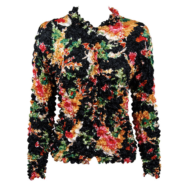 Wholesale Gourmet Popcorn - Cardigans with Collar Bright Floral on Black - One Size (S-XL)