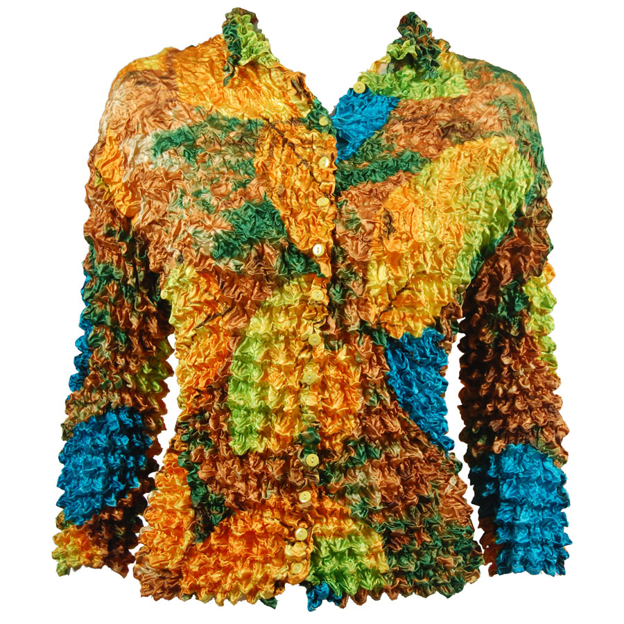 Wholesale Gourmet Popcorn - Cardigans with Collar Leaves Turquoise-Green-Copper - One Size (S-XL)
