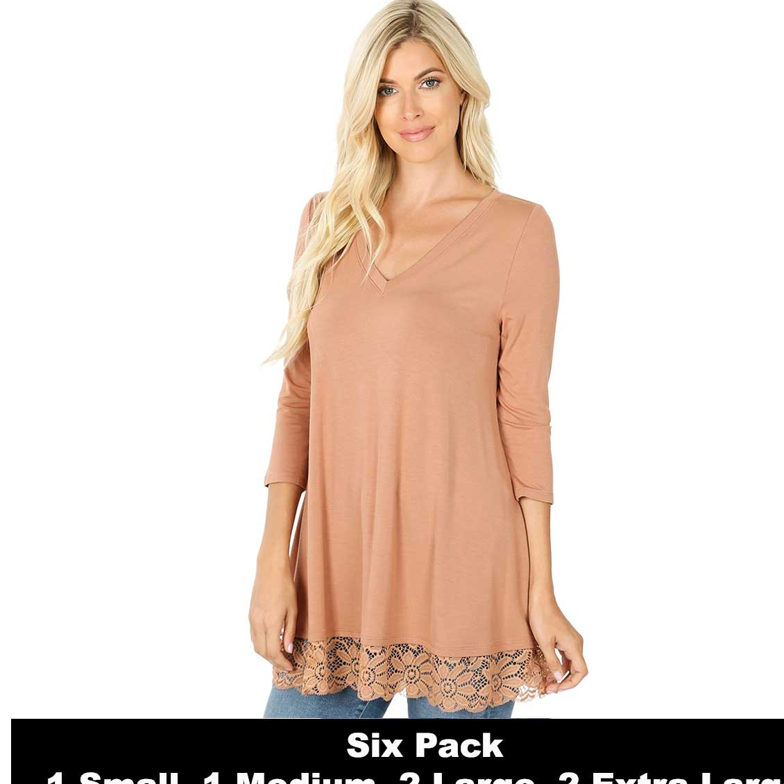 Tops - Luxe Rayon Lace Trim Hem Tunic 5640