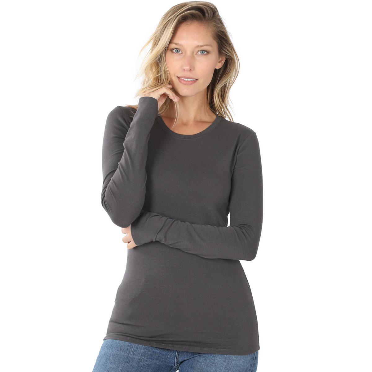 Tops - Cotton Slim Fit Long Sleeve Round Neck 3320 - ASH GREY Cotton Long Sleeve Round Neck 3320
