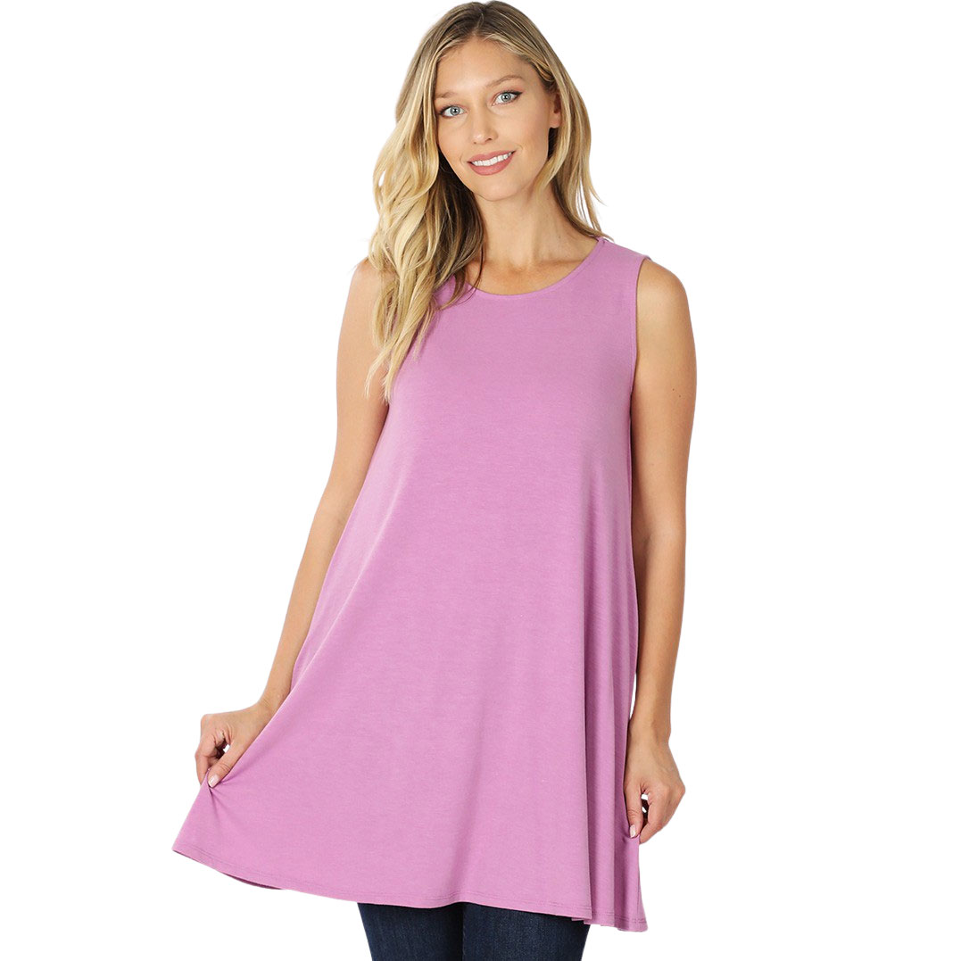 Tops - Round Neck Sleeveless Tunic w/Pockets 9926P