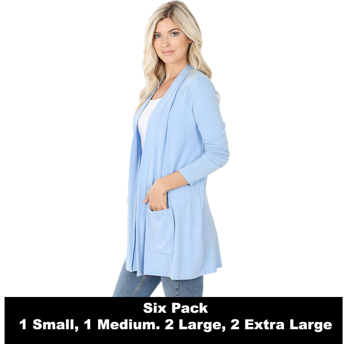 Slouchy Pocket Open Cardigan 1443 -  SPRING BLUE SIX PACK Slouchy Pocket Open Cardigan 1443 (1S/1M/2L/2XL)