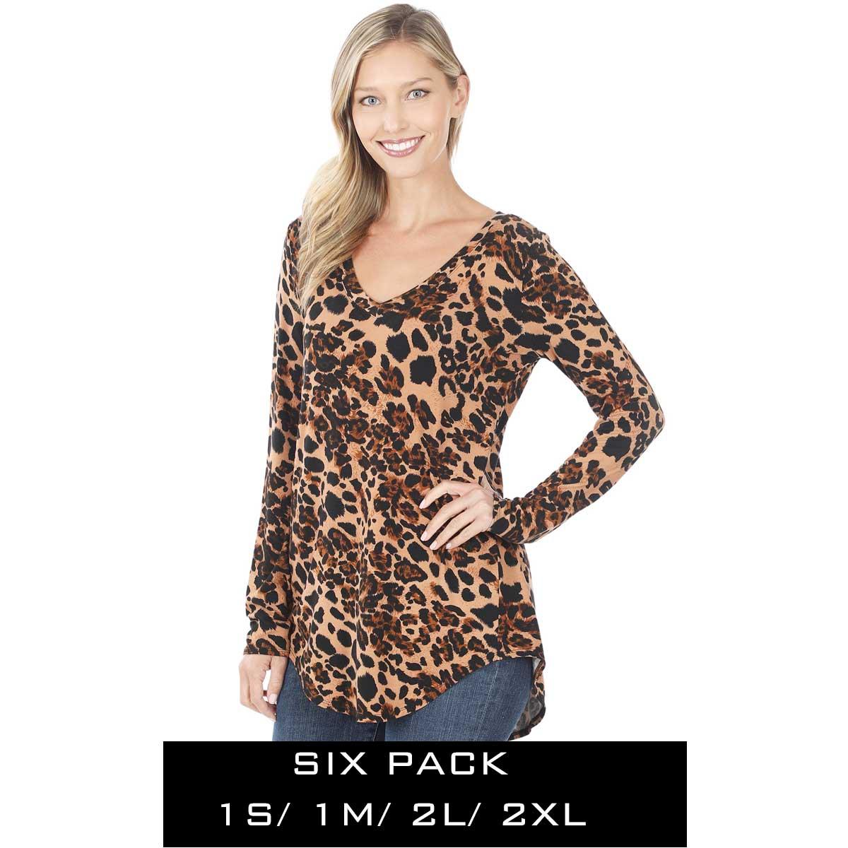 Tops - Leopard  Long Sleeve V-neck Hi-Lo 45016