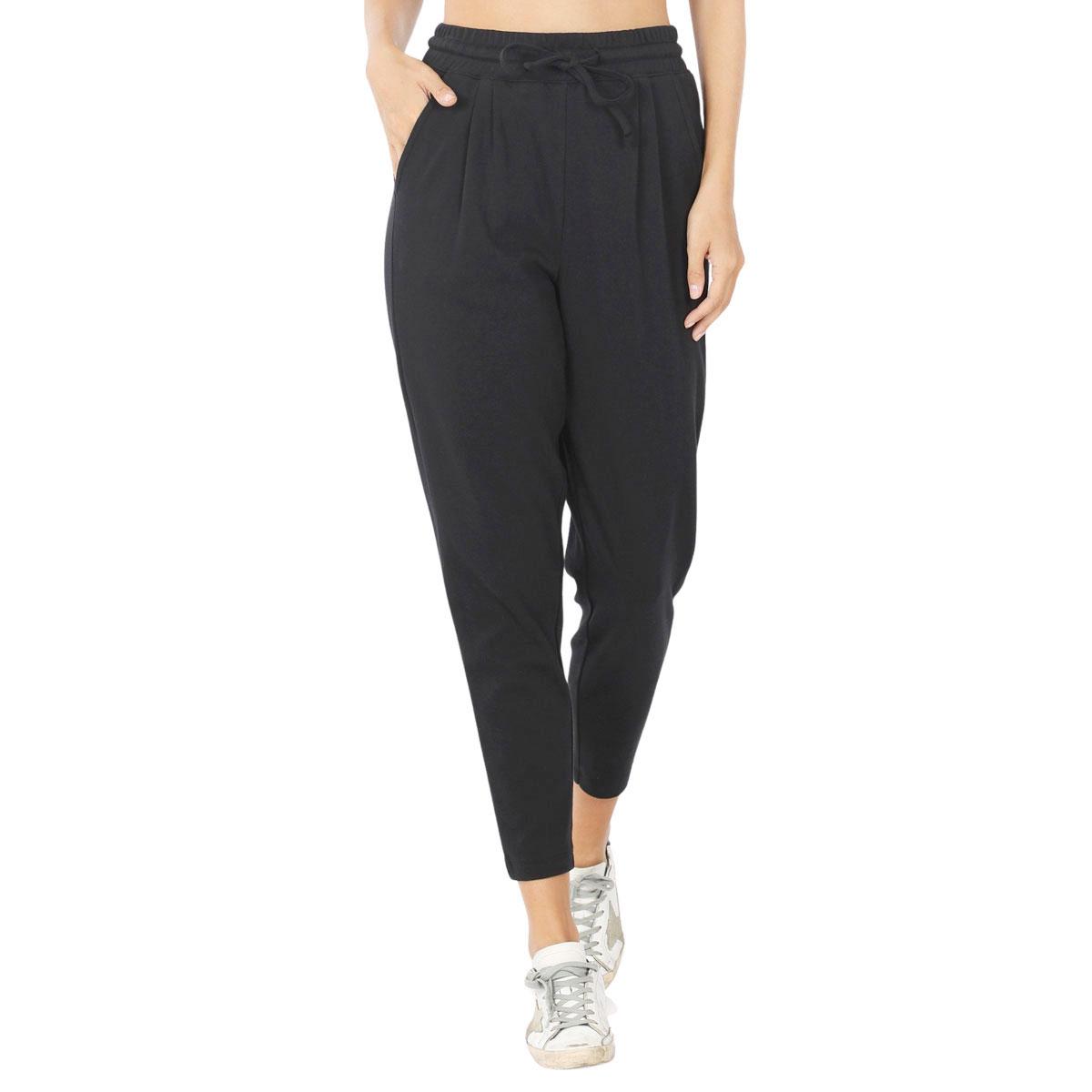 Pants - Cotton w/ Drawstring Waistband 32061 - BLACK Pants - Cotton w/ Drawstring Waistband 32061