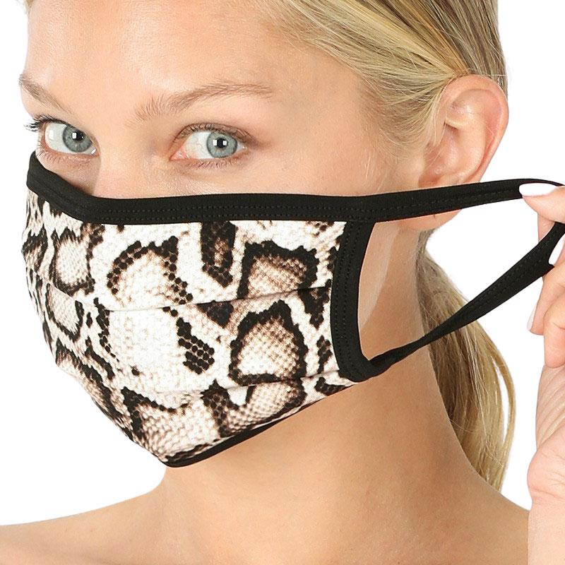 Protective Masks - Cotton Blend Two Ply CMK/CPMK - TAN BROWN REPTILE Protective Masks- Two Ply CPMK 503