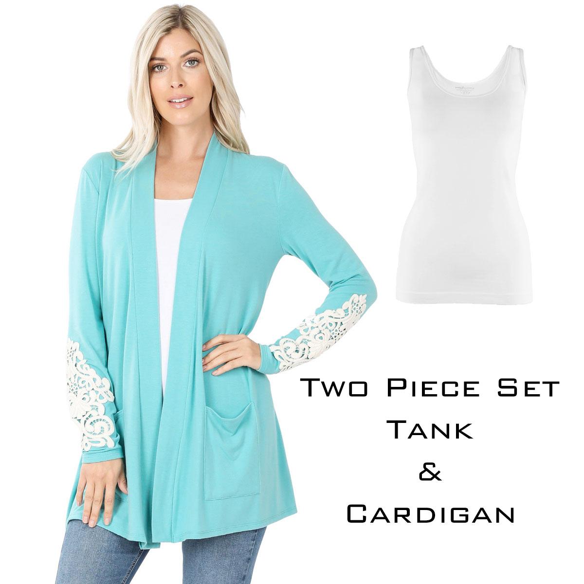 Cardigan Set - Lace Patch Slouchy Pocket 1446 - ASH MINT Cardigan Set - Lace Patch Slouchy Pocket 1446