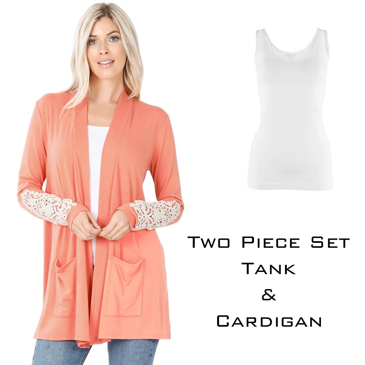 Cardigan Set - Lace Patch Slouchy Pocket 1446