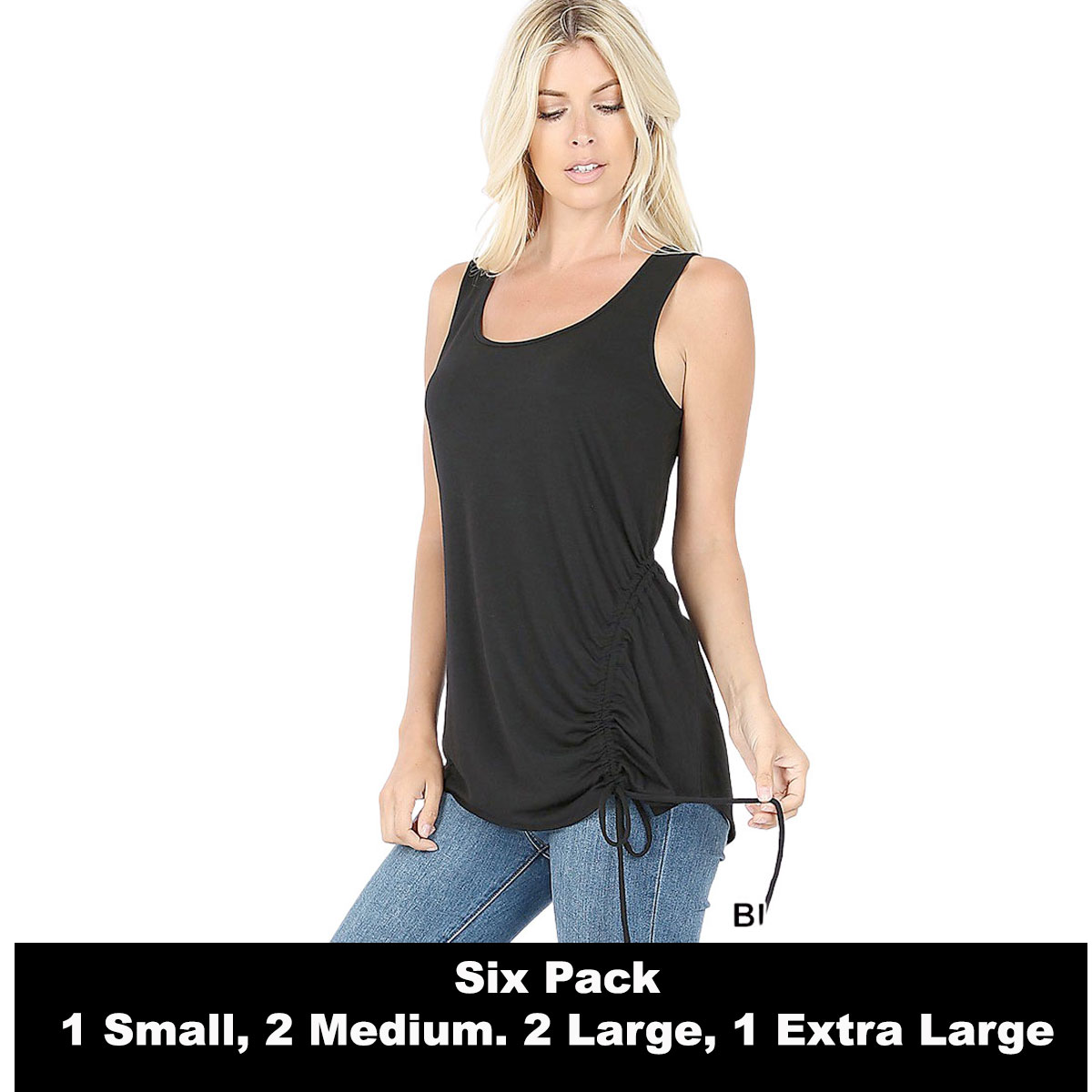 Tops - Sleeveless Round Neck Side Ruched 1877 -  BLACK SIX PACK Top - Sleeveless Round Neck Side Ruched 1877 (1S/2M/2L/1XL)