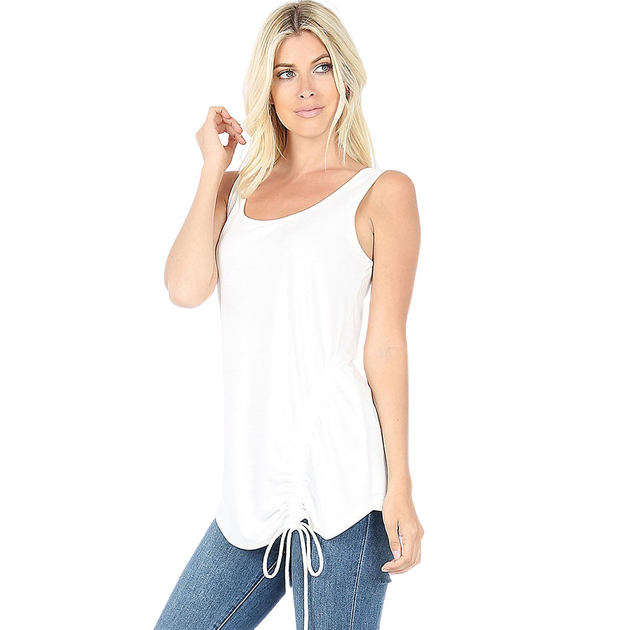 Tops - Sleeveless Round Neck Side Ruched 1877