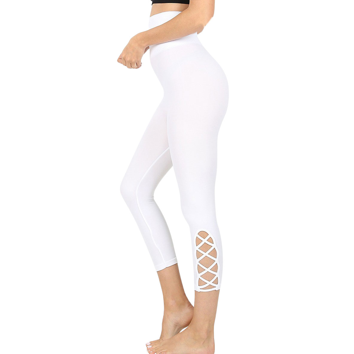 Leggings - White Lattice-Hem High Waist Capri 5658