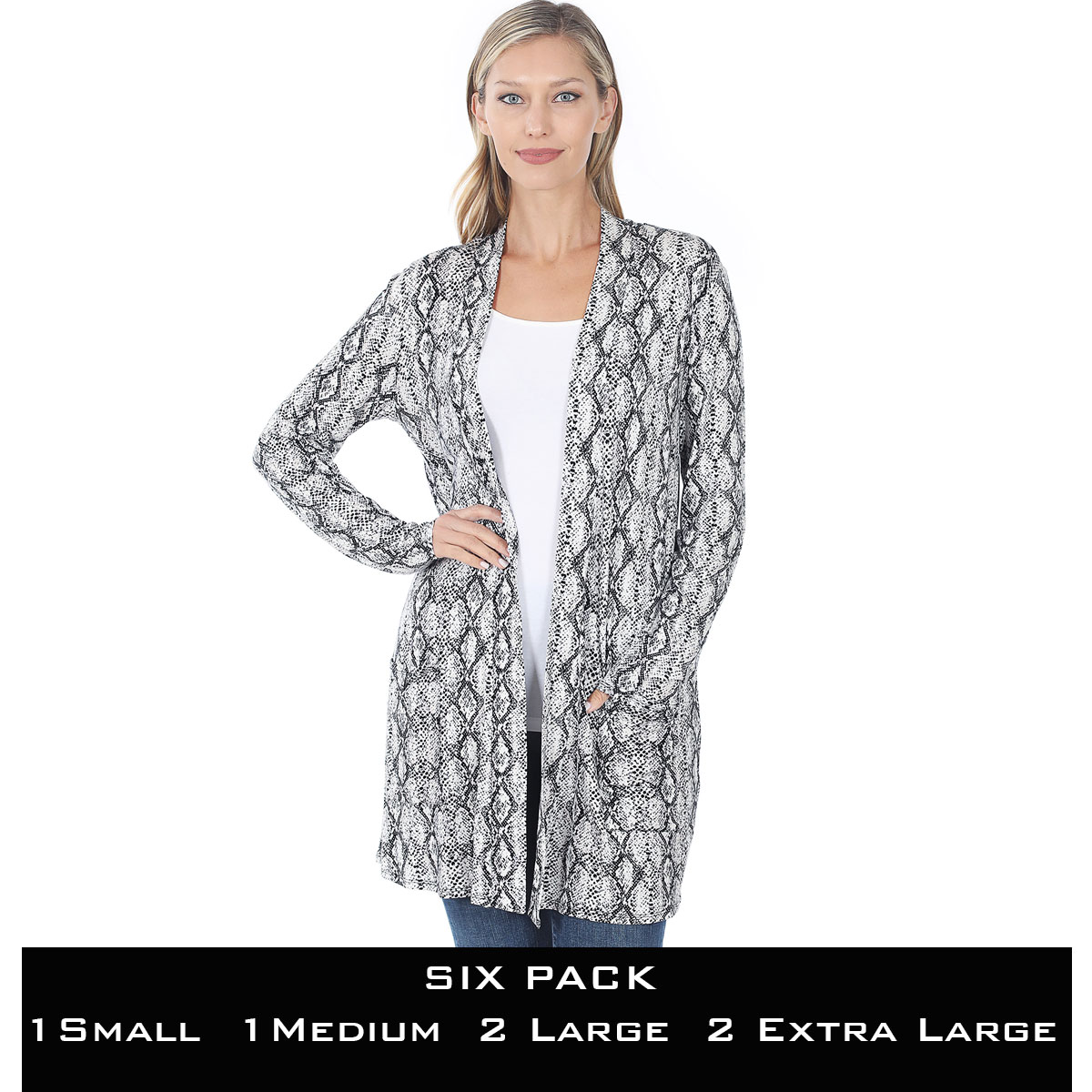 Slouchy Pocket Open Cardigan Prints 320 and 900