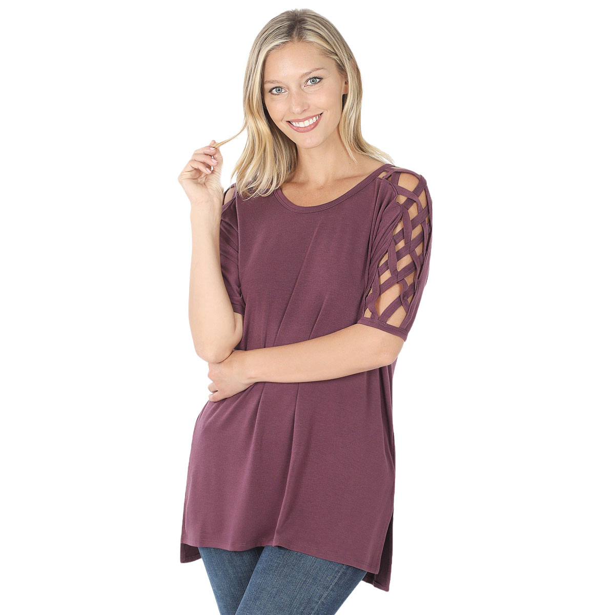 Tops - Criss-Cross Shoulder Side Split Hi-Low 1781
