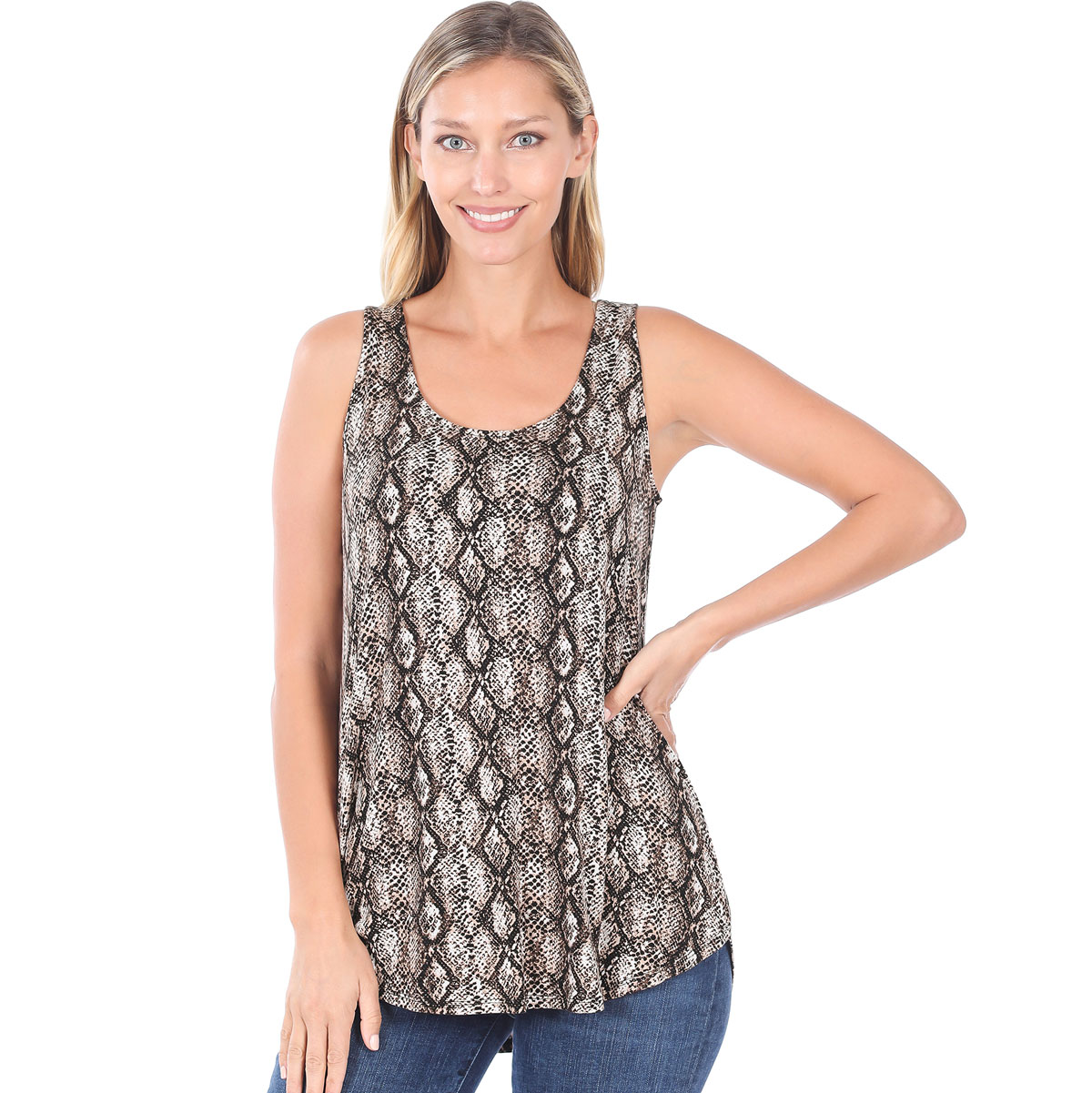Tops- Sleeveless Round Hem Prints 4308 - SNAKESKIN BROWN Sleeveless Round Hem Top 4308
