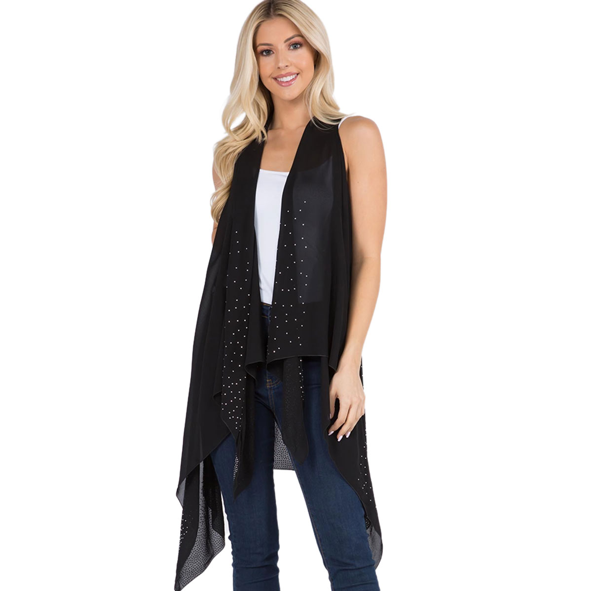 Vest - Sheer Crepe  w/ Crystals 403