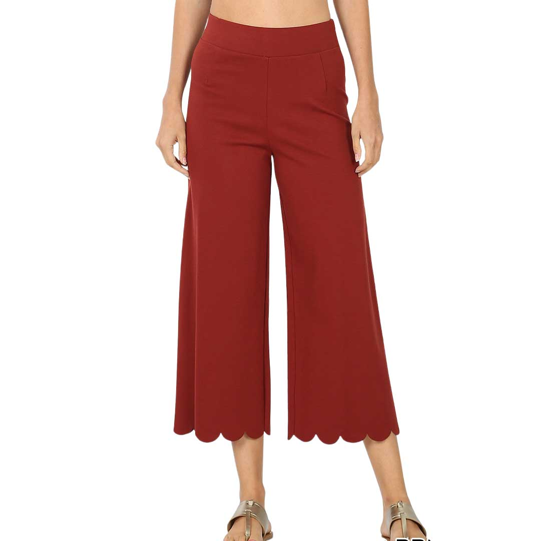 Pants - Ponte Scallop Crop 2463