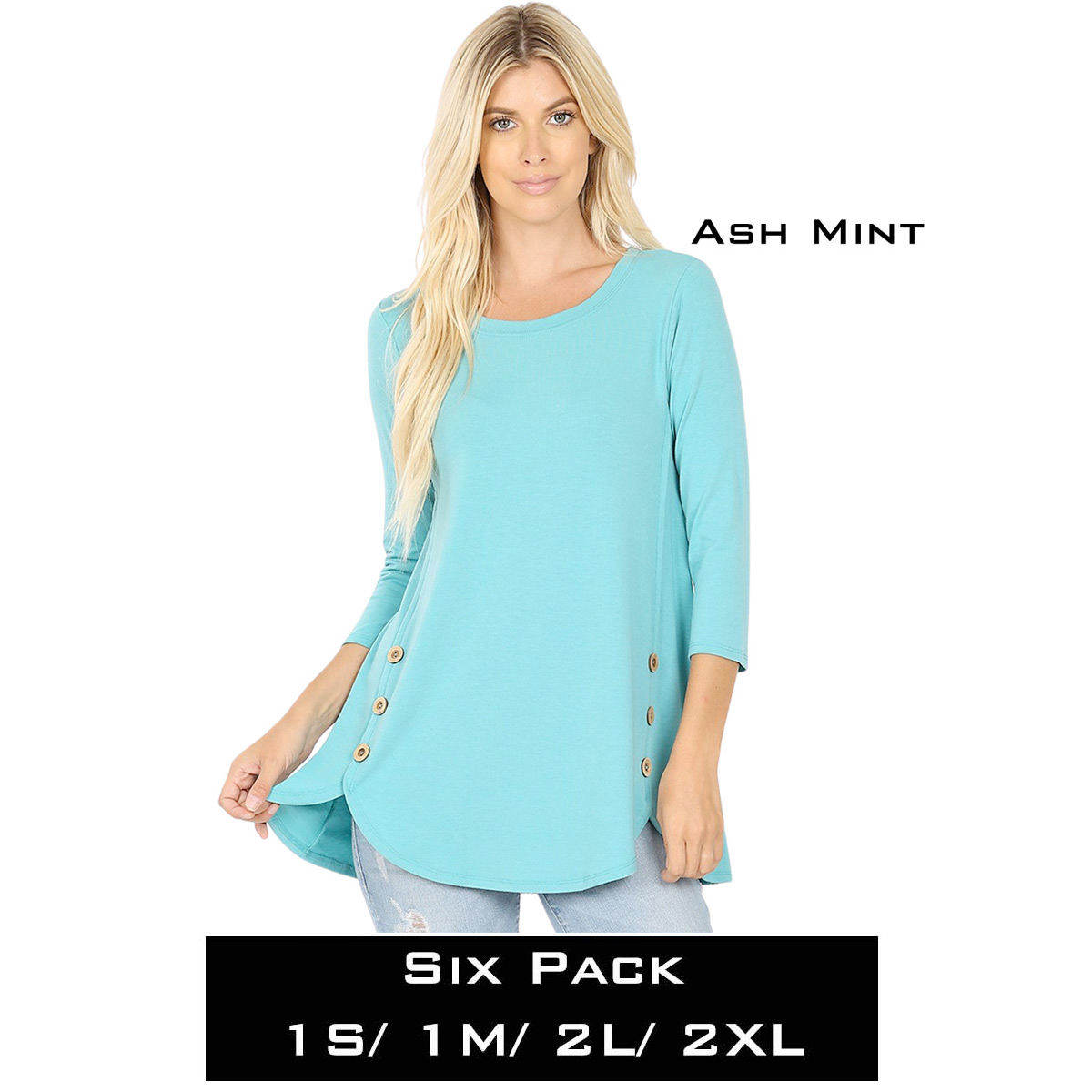 ASH MINT (SIX PACK) 3/4 Sleeve Side Wood Buttons Top 2032(1S,1M,2L,2XL)