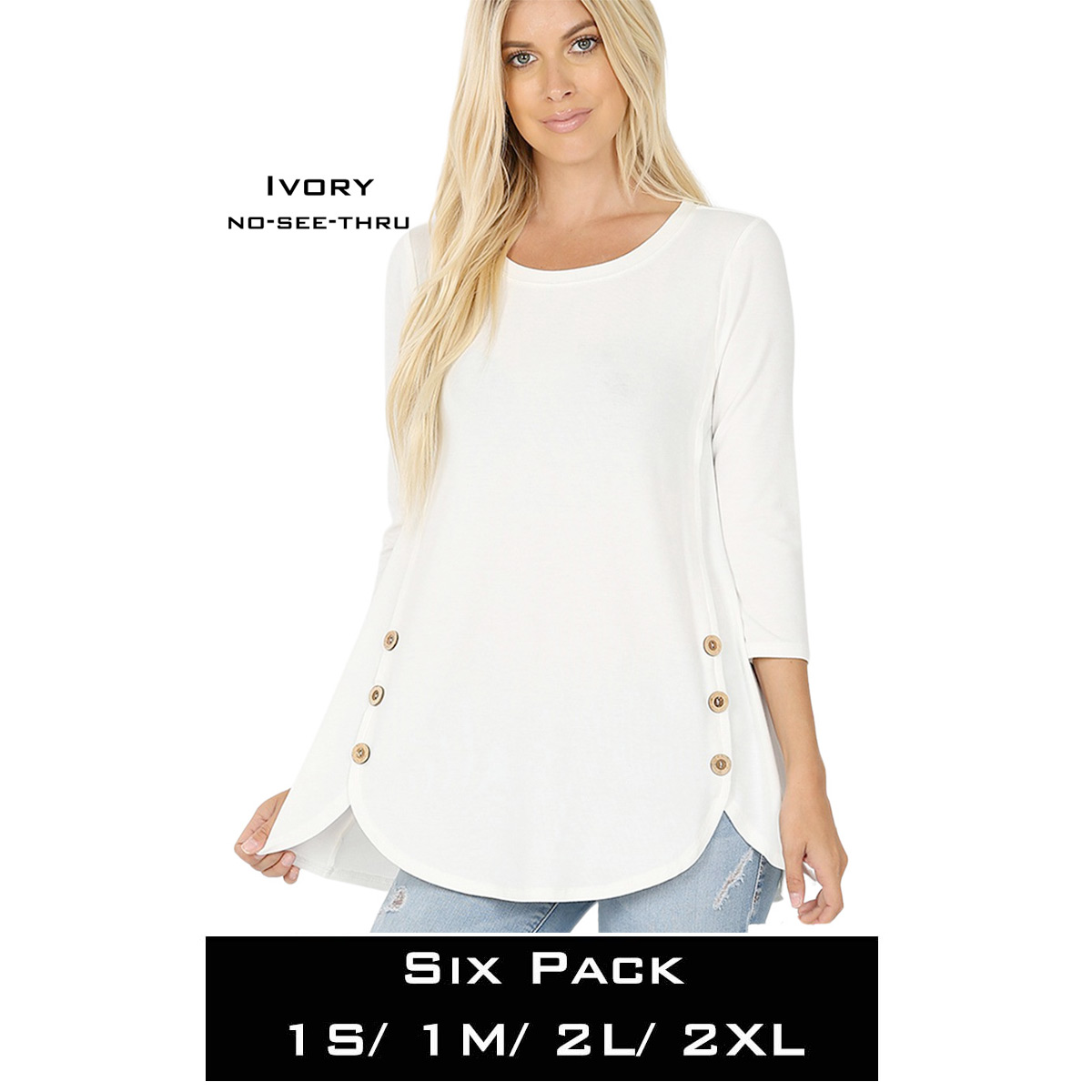 IVORY(SIX PACK) 3/4 Sleeve Side Wood Buttons Top 2032(1S,1M,2L,2XL)