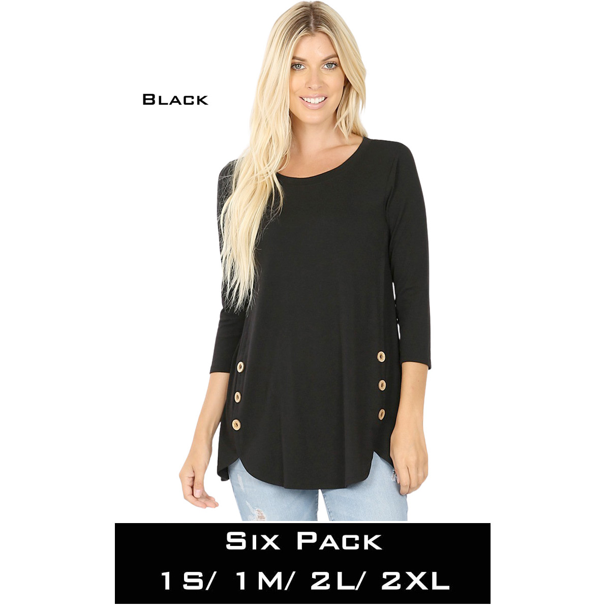 BLACK (SIX PACK) 3/4 Sleeve Side Wood Buttons Top 2032(1S,1M,2L,2XL)