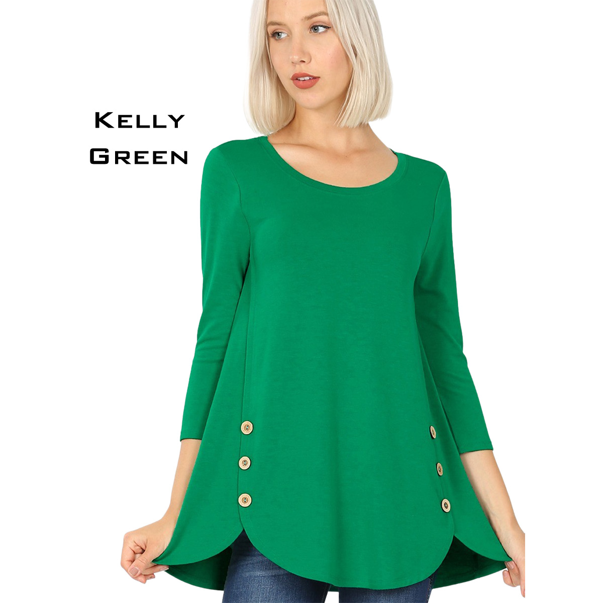 KELLY GREEN 3/4 Sleeve Side Wood Buttons Top 2032