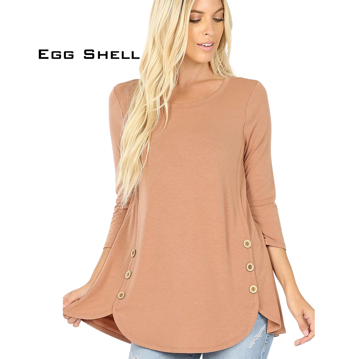 EGG SHELL 3/4 Sleeve Side Wood Buttons Top 2032