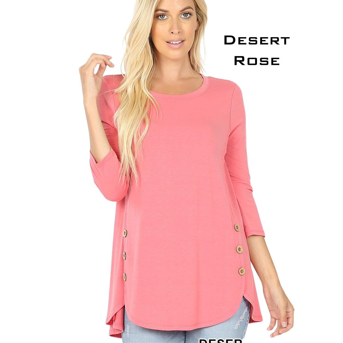 DESERT ROSE 3/4 Sleeve Side Wood Buttons Top 2032