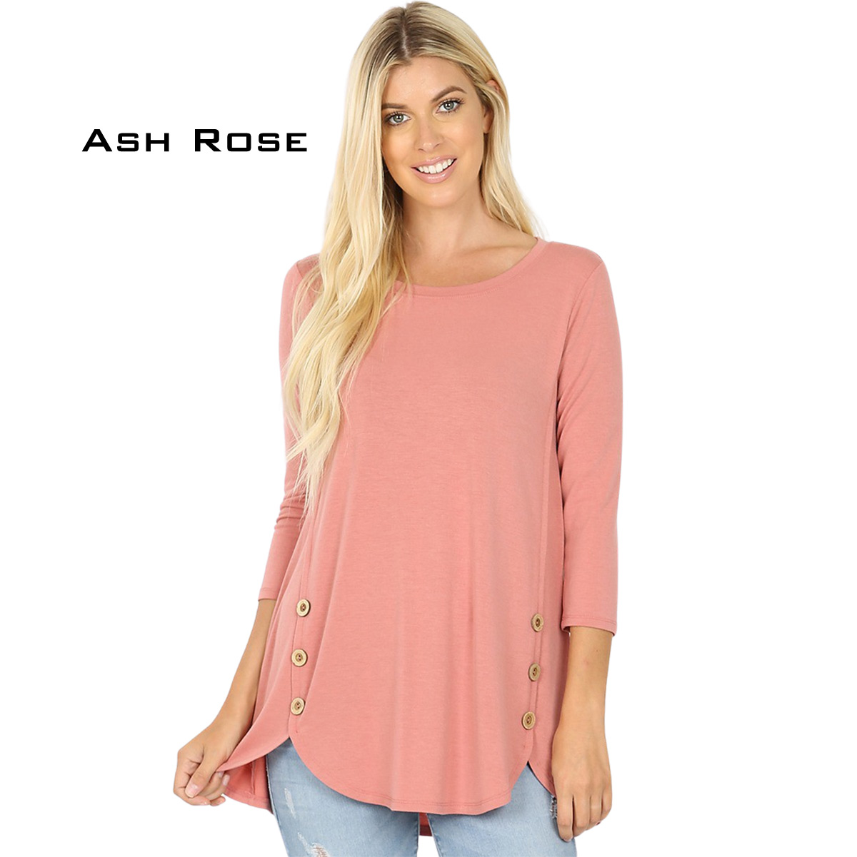 ASH ROSE 3/4 Sleeve Side Wood Buttons Top 2032