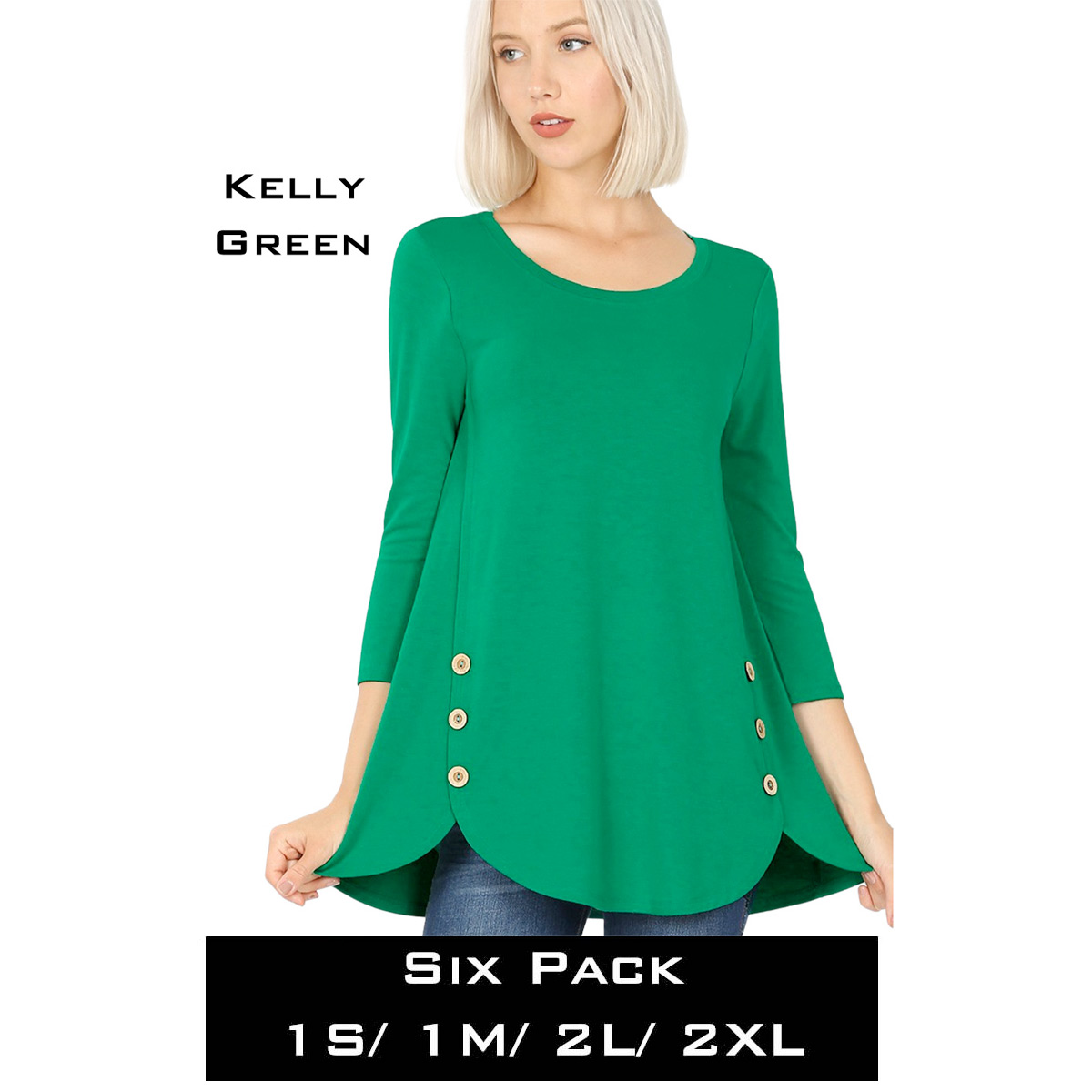 KELLY GREEN (SIX PACK) 3/4 Sleeve Side Wood Buttons Top 2032(1S,1M,2L,2XL)