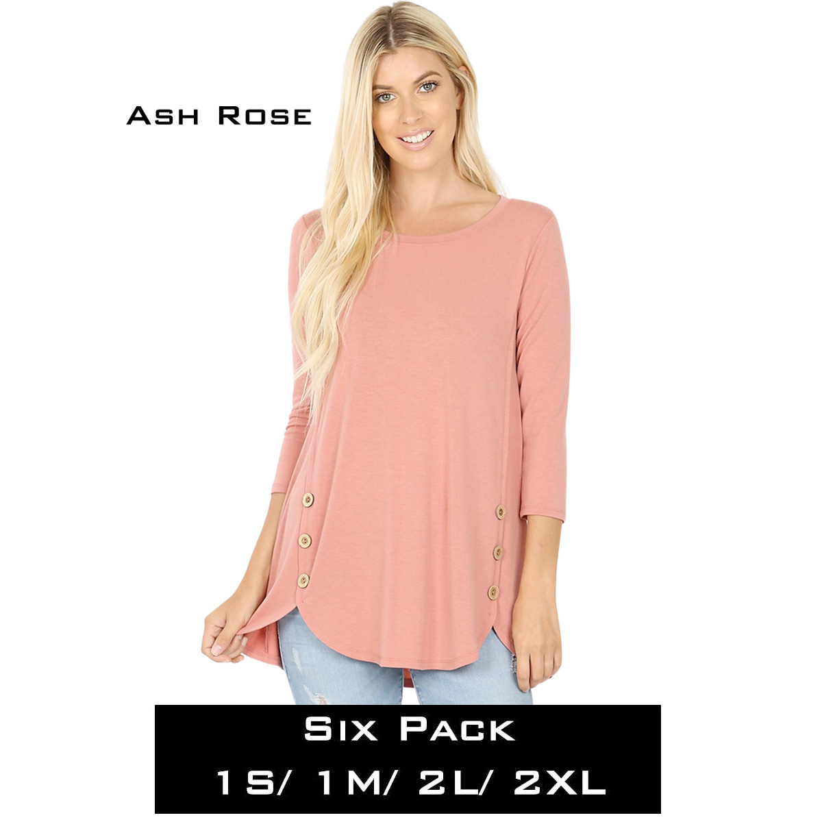 ASH ROSE (SIX PACK) 3/4 Sleeve Side Wood Buttons Top 2032(1S,1M,2L,2XL)