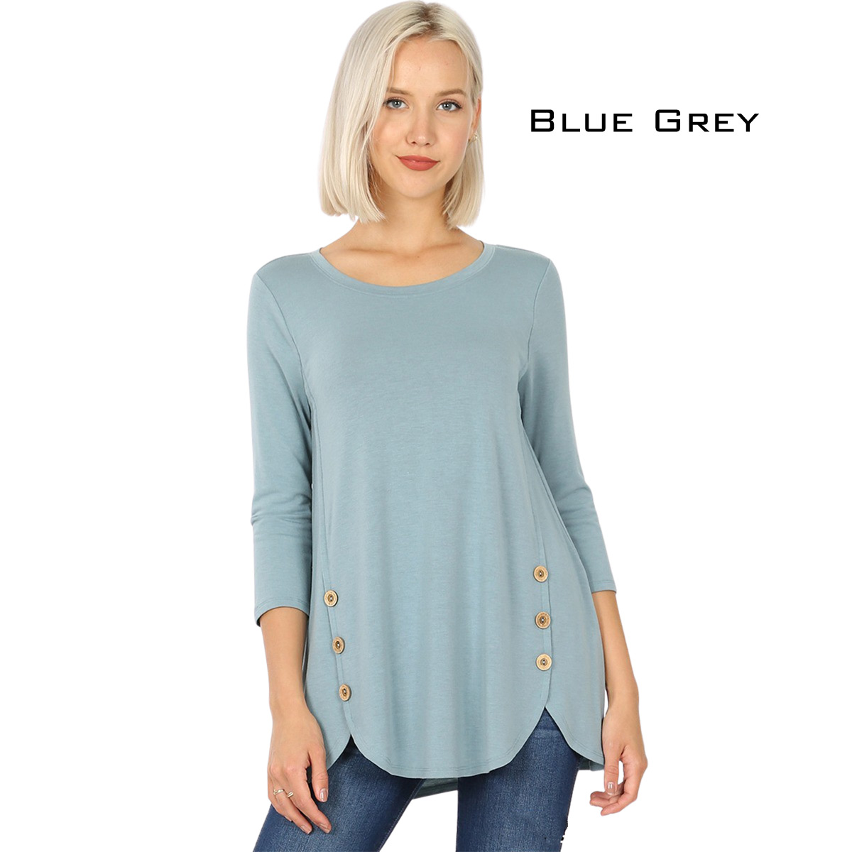 BLUE GREY 3/4 Sleeve Side Wood Buttons Top 2032
